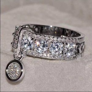 NEW LUXURY 925 SILVER DIAMOND RING